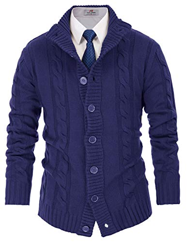 - PAUL JONES Men's Heavy Weight Shawl Collar Button Placket Cardigan Sweaters Size L Blue