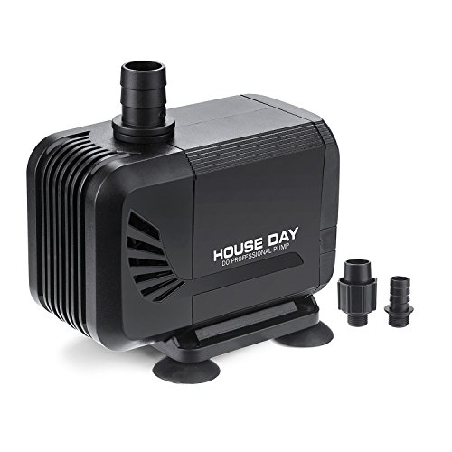HOUSE DAY Submersible Water Pump 15W 400GPH (1500L/h),Dry Burning Prevention Fuction Water Pump with 1.5m Power Cord,for Aquarium, Fish Tank, Fountain, Pond,Hydroponics by HOUSE DAY