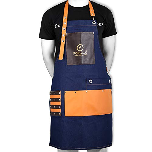 FORGICA Professional Leather Apron Hair Cutting Hairdressing Barber Apron Cape for Salon Hairstylist - Multi-use, Adjustable with 8 pockets - Heavy Duty Premium Quality - NY Edition (Tiger Blue)