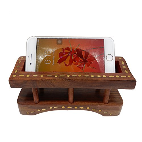 Wooden Handmade Mobile Holder with Brass Inlay Work Mobile Organizer Stand for Home/Office Decorative Or Multi Purpose Use