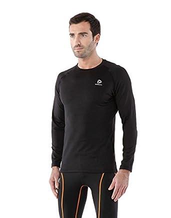 d4157402f ANGEL COLA Men's Compression Heat Tech V-Neck Long Sleeves Under Base Layer  Tops Black