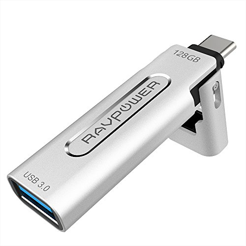 RAVPower 128GB Type C Flash Drive USB3.0, USB-A to USB-C Memory Stick for USB-C Enabled Smartphones, MacBooks, Tablets, Keyboards, and More by RAVPower