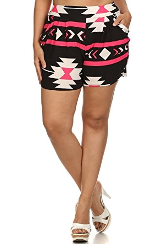 Women's Plus Size Pink Sexy Aztec Tribal Print Harem Shorts with side Pockets