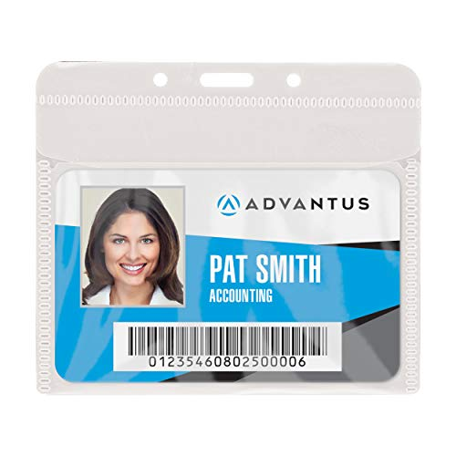 - ADVANTUS PVC-Free Badge Holders, Horizontal, 4 x 3