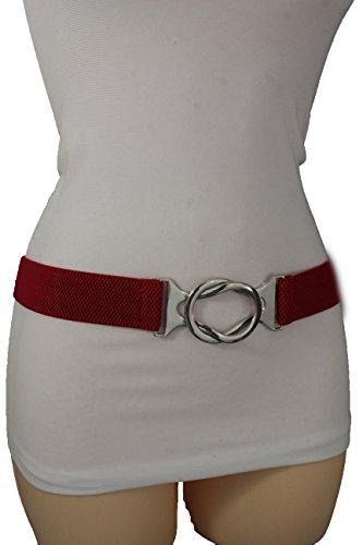 TFJ Women Fashion Silver Buckle Belt Hip Waist Skinny Elastic Band Plus M L XL Red