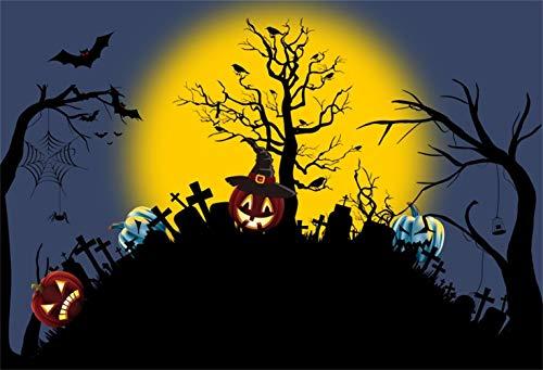 Yeele 6x4ft Halloween Theme Backdrop Jack-o-Lantern Graveyard Moon