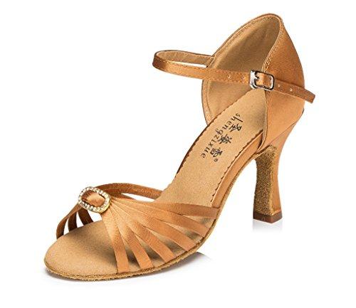 Crc Donna Elegante Peep Toe Raso Sala Da Ballo Morden Salsa Latino Tango Partito Da Sposa Professionale Danza Sandali In Bronzo