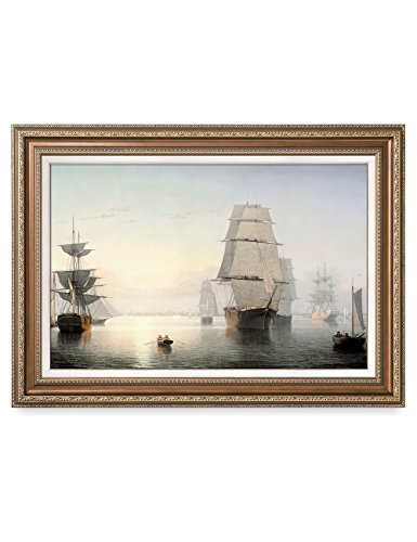 DECORARTS Boston Harbor, Sunset, Fitz Henry Lane Classic Art Reproductions. Giclee Prints& Museum Quality Framed Art for Wall Decor. Framed size: 36x26