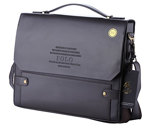POLO VIDENG M336 Top Leather RFID Block Briefcase Shoulder Messenger Business Bag From Italy Design (Ch-brown)