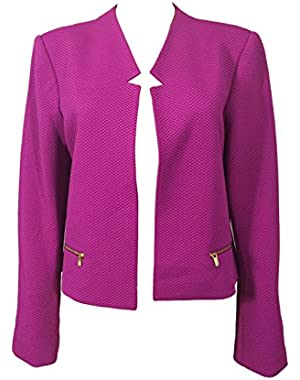 Calvin Klein Long Sleeve Flyaway Notch Collar Jacket, Zinnia