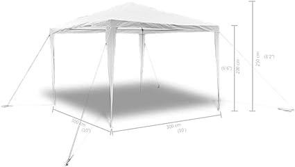 yorten Pabellón Gazebo Jardín Pirámide-Techo para Cualquier Evento al Aire Libre Agua y Resistente a la Intemperie 3 x 3 M Blanco: Amazon.es: Hogar