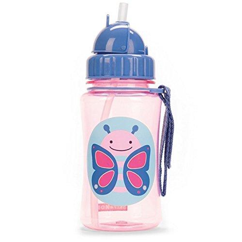Skip Hop Zoo Straw Bottle, Holds 12 oz, Blossom Butterfly