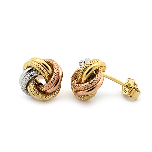 14k White, Yellow and Rose Gold Tri-Tone Textured Love Knot Earrings