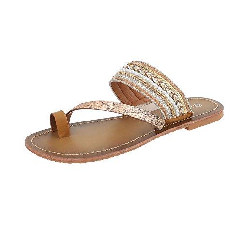 Ital-Design Zapatos Para Mujer Sandalias de Vestir Plano Sandalias de Dedo Beige Gold