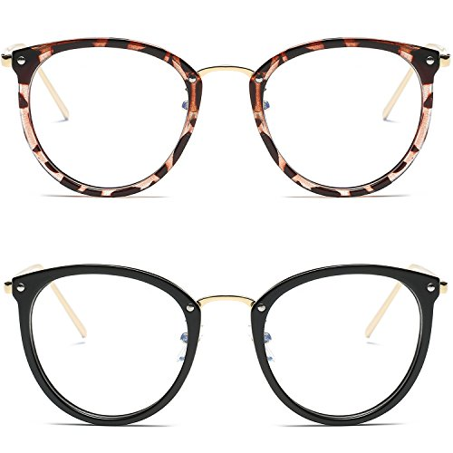 Amomoma Fashion Round Eyewear Frame Eyeglasses Optical Frame Clear Lens Glasses Havana Brown/Gold+Black