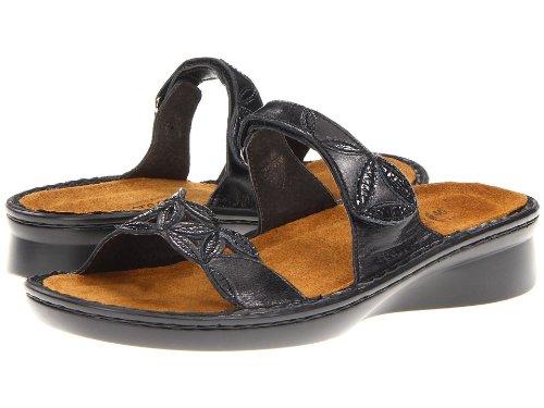 Naot Women's Mozart Flat,Black Madras Leather/Black Crinkle Patent Leather,36 EU/4.5-5 M US