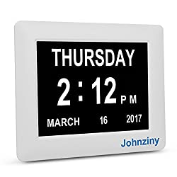 Johnziny Digital Calendar Day Clock- Electronic Kitchen Wall Alarm Clock Extra Large Impaired Vision Clock with Battery Backup for Seniors