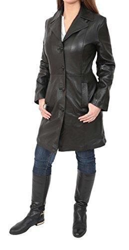 Donna 3/4 Lunghezza Morbida in Pelle Classica Lunga con Cappotto Monopetto Macey Nero