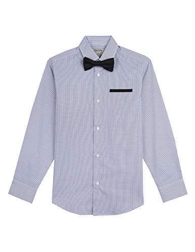 Print Boys Tie - Kenneth Cole Boys Long Sleeve Dress Shirt and Tie Set, Black Print, 10