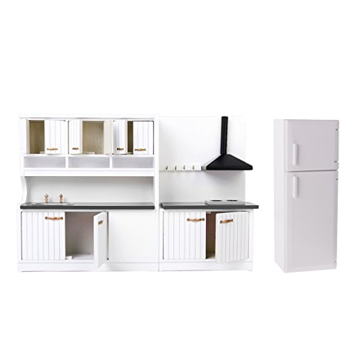 - DYNWAVE 1/12 Dollhouse Kitchen Cabinet Sink Refrigerator Set, Luxury White Wooden Miniatures Furniture Decor, Adult Collections