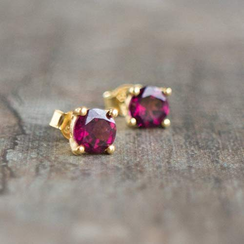 - Rhodolite Garnet 14K Gold Stud Earrings, January Birthstone Fine Jewelry Gift for Wife, (Estimated Delivery: 12-16 Days)