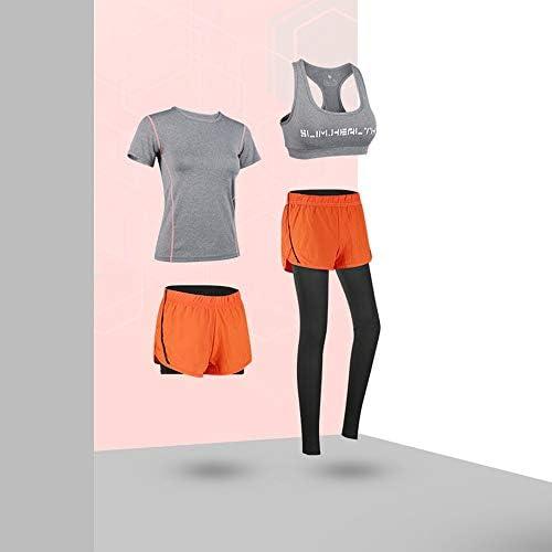 レディースジャージ上下セット レディースノースリーブクロップトップ&タイトパンツ4個セットピース衣装スーツトラックスーツカジュアルショートスポーツウェア (Color : Gray, Size : S)