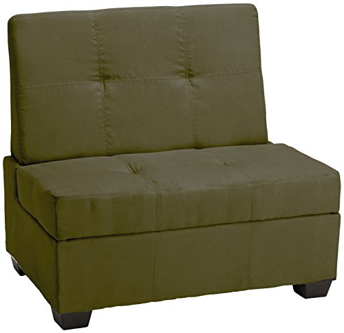 Epic Furnishings Butler Microfiber Upholstered Tufted Padded Hinged Storage Ottoman Bench, 36