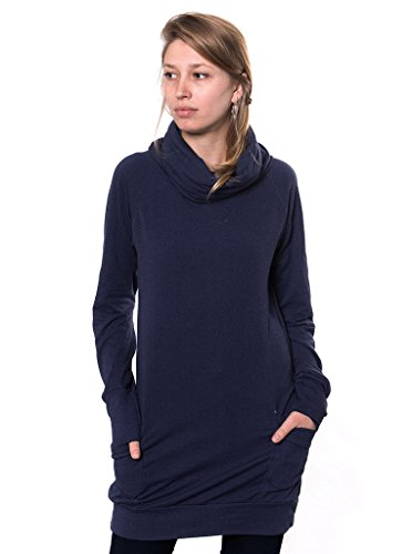 Women's 100% Cotton Cowl Neck Tunic Sweatshirt with Tribal Graphic Design - Silk Screen Print - in Blue - Small