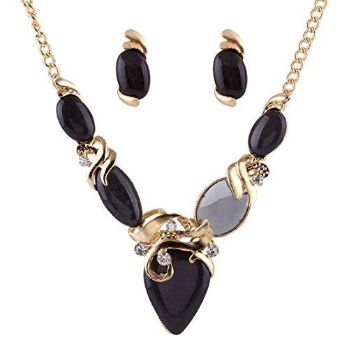 Running Bear Princess Costumes (SDLM Womens Fashion Gold-Tone Heart Stone V Collar Jewelry CZ Necklace Stud Earring Set(black))