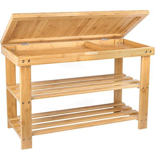 (BAMBUROBA Shoe Rack Storage Bench Bamboo Organizer Entryway Organizing Shelf with Storage Drawer on Top)