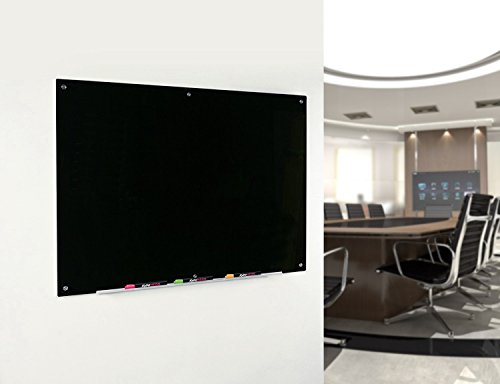 Audio-Visual Direct Black Glass Dry-Erase Board Set - 35 1/2 x 47 1/4 Inches - (Non-Magnetic)