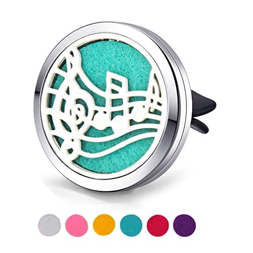 TECCOLA Car Vent Clip Essential Oil Diffuser, Car Fragrance Air Freshener Purifier Scents Diffusers Magnetic Hollow Aromatherapy Locket with 8 Colors Reusable Felt Refill Pads