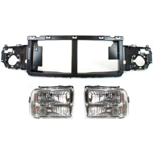 Header Panel Kit Compatible with FORD F-SERIES Super Duty 2005-2007 Set of 3 With Header Panel and Headlight