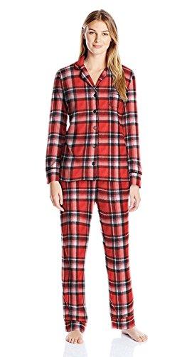 Carole Hochman Women's Packaged Notch Collar Microfleece Pajama Set, Heavy Twill Plaid, (Flannel Pajama Set)