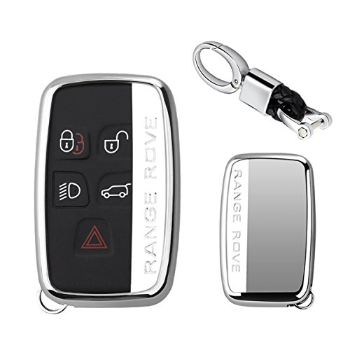 MODIPIM Keyless Entry Remote Cover Soft TPU Key Fob Case with Braided Cord Keychain for Land Rover Defender Discovery Sport LR4 Range Rover Sport 5-Buttons Smart Key Color Silver ()