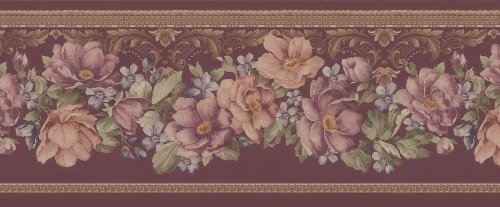 Wallpaper Mirage Floral (Brewster 975B04641 Mirage XV Floral Trail Wall Border, 9-Inch by 180-Inch)