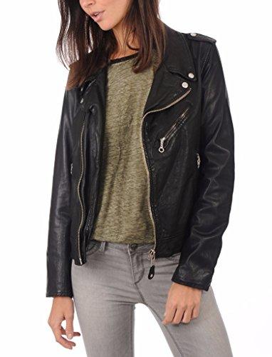 Black Genuine Leather Bomber Jacket - Prim leather Women's Lambskin Leather Bomber Biker Jacket Medium Black