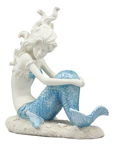 Ebros Lovesick Mermaid Sitting On Ocean Floor Statue 6.5