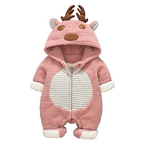 - Elk Baby Romper for Autumn & Winter, Plus Velvet Thicken Climbing Suit for Baby Boys & Girls, Going Out Cloth (Rose, 80cm)