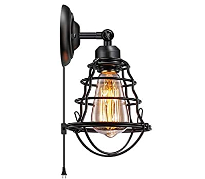 Industrial Plug in Wall Light E26 Base Edison Wire Cage Style Vintage Wall Lights with 5.9Ft Adjustable Plug in Cord Rustic Wall Sconce Fixture for Headboard Bedroom Porch Bathroom 1 Pack Hardwired