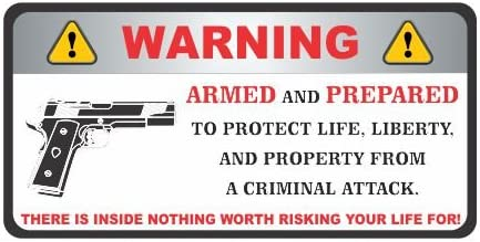 "4  Gun Decals..../""WARNING..THE OWNER IS ARMED/"" .. 2nd Amendment ...Stickers"