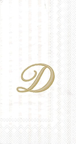 (Ideal Home Range Monogram Guest Towel, White/Gold (Pack of 2) (2, Letter D))