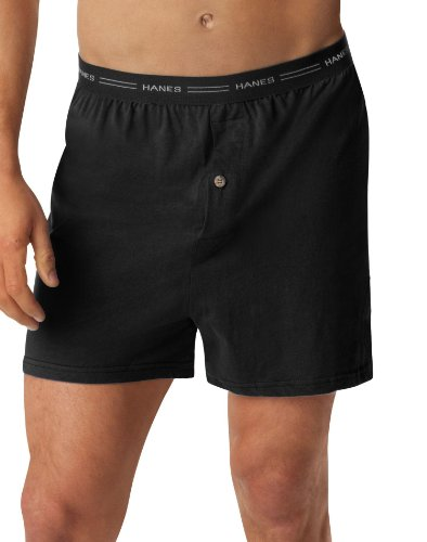 (Hanes Men's 5-Pack Exposed Waistband Knit Boxers, Assorted, Large)