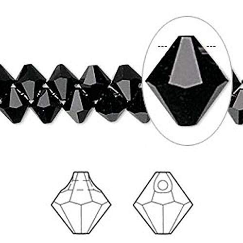 12 i Crystals Jet Black 6mm Top Drilled Faceted Bicone Drops (6301) ()