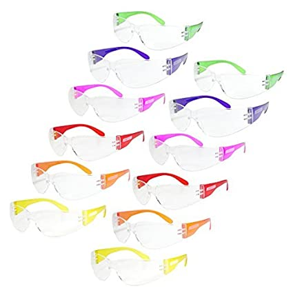 ebe40c07251b JORESTECH Eyewear Protective Safety Glasses, Polycarbonate Impact Resistant  Lens Pack of 12 (Multi-Colors) - - Amazon.com