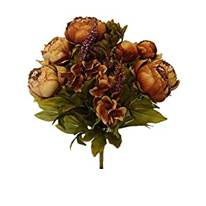 Sweet Home Deco 18'' Super Soft Blooming Peonies and Hydrangeas Silk Artificial Bouquet (13 Stems/6 Flower Heads) (Brown) 37