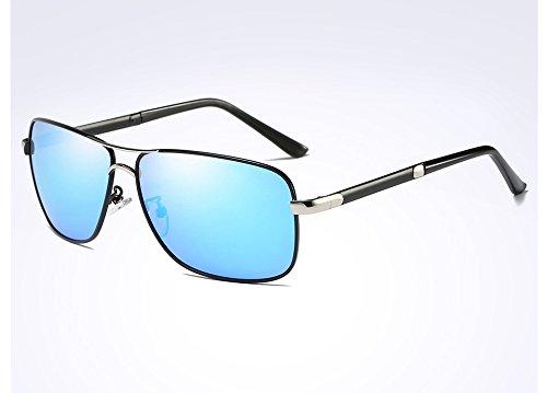 Gafas Gafas Hombres TL Gris black en del Cuadrado Bastidor de polarizadas la de Sol Macho para blue de Guía Negro Hombres Sunglasses Aleación Sol Plata Gafas aawqBxrR5