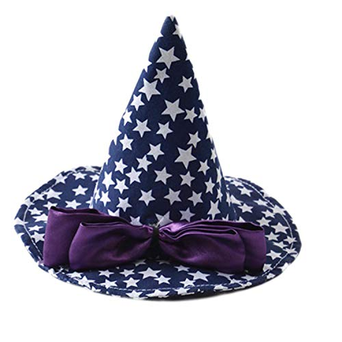 (Halloween Pet Hat Decor Cosplay Costume Hats Pet Cat Dog Caps with Bowknot Printed Stars)