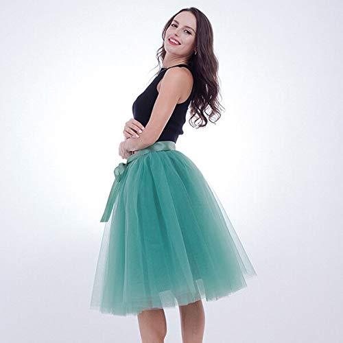 Light green WHFDBZQ 5 Layer 65Cm Knee Length Tulle Skirt Elegant Pleated Tutu Skirts Womens Vintage Lolita Petticoat