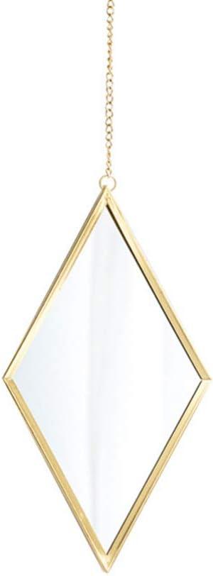 Garneck Diamond Shaped Mirror,Makeup Mirror Space-Saving Wall Hanging Vanity Mirror Bohemian Wall Mirror Decor Rhombus Mirror for Bathroom Bedroom Home Decor